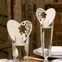 With Love Design Laser Cut Ivory Place Cards (10)